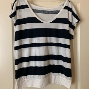 Women's Size L Blue and White Striped Top